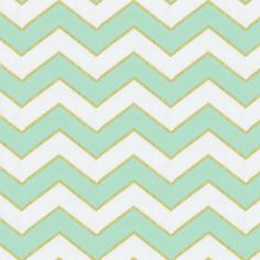 Mint and Gold Chevron Fabric by the Yard I Carousel Designs.  Soft tones of mint green are accented with a stunning gold metallic on a clean white background. The timeless Chevron print is a great addition to your nursery decor.