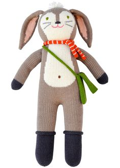 Pierre the bunny looks forward to outdoor adventures with his orange and white scarf and green satchel.
