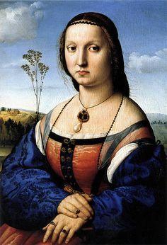 Raffaello Sanzio, ritratto di  Maddalena Strozzi (Doni),1506 circa,  Olio su tavola  63×45 cm ,Galleria Palatina, Firenze