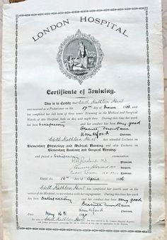 Hospital Certificates - The London Hospital