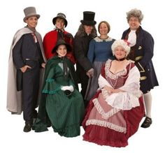 Fred, Carolers, Mr and Mrs. Fezziwig, Scrooge and Mrs. Cratchit