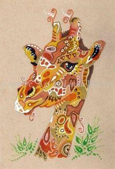 LWick Original SFA zoo animal doodle design giraffe portrait nature wildlife