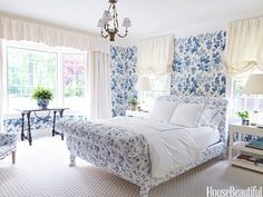 bedroom decor, guest bedrooms, blue bedrooms, white bedrooms, hous, sleigh bed, guest rooms, blues, upholstered beds