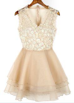 Sweet V Neck Apricot Sleeveless Mini Dress for Woman | Rosewe.com