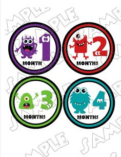 Monsters Monthly Onesie Stickers