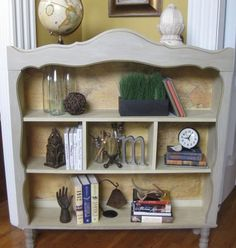 The hutch from a 70's hutch/desk combo is re-imagined as a unique book shelf. Cool!