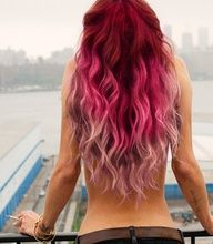 red ombre hair... not my favorite fade, but love the bright red!