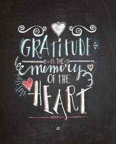 Handlettered #freeprintable by Melissa- Gratitude is the memory of the heart. #freeprintables