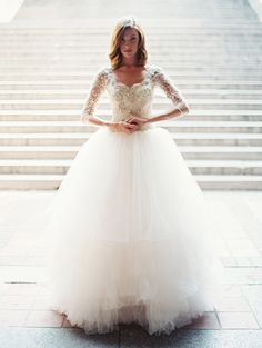 Love this stunning ballgown wedding dress. Tulle skirt and long lace sleeves? Yes please! From Sareh Nouri 2014 Bridal Collection