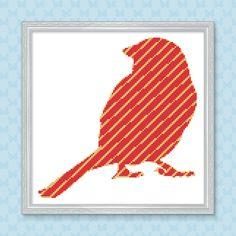 Bird Cross Stitch Pattern Striped Robin Easy by ArtfulCrossStitch