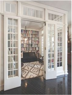 Gorgeous Library with french doors and transoms transom windows, the doors, glass doors, library rooms, home libraries, dream, glass walls, hous, interior walls