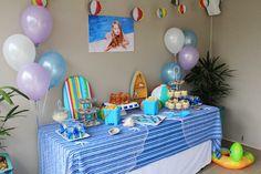 birthday pool party dessert table