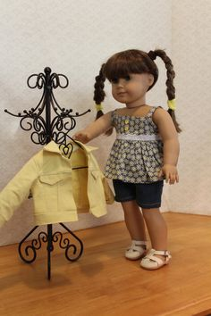 Yellow Denim Jacket Top and Shorts made for by BrooksideLane