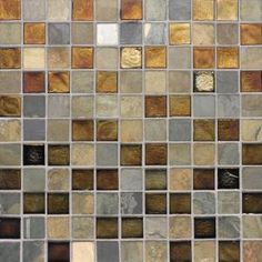 Studio E Edgewater Sunset Cliffs 1 in. x 1 in. 11 3/4 in. x 11 3/4 in. Glass and Slate Wall & Floor Mosaic Tile-DISCONTINUED-79400 at The Home Depot