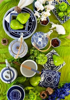 "We LOVE blue and white ceramic for dining, so fresh and look amazing when ""peared"" (sorry could not resist) with this bright green..."