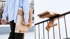 """The small, portable, and frankly genius Sky Deck table is a mini table designed to """"wrap"""" itself around the rails of balconies or fire escapes, giving you just enough horizontal surface space for a small plate and something refreshing to drink."""