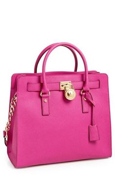 Work in some color with this leather tote