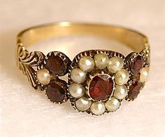 English Georgian Ring with Garnets & Pearls