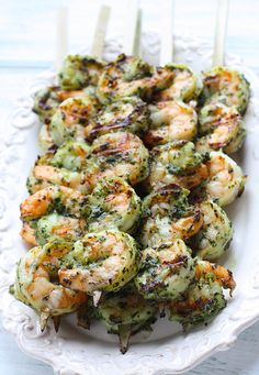 Grilled Pesto Shrimp Skewers!!! You have to try these at your next cookout!! |skinnytaste.com