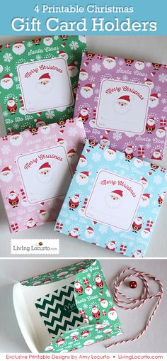 4 Printable Santa Themed DIY Gift Holders. Holds gift cards, money, notes, and other small items. Perfect for teacher gifts and goodies from Santa!