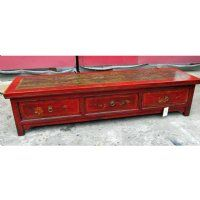 Antique Asian Chinese Furniture Tibetan 3 Drawer Red Kang Table w Flowing River painting.