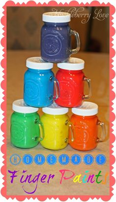 Homemade Finger Paint {Recipe}~water ~cornstarch ~sugar ~salt ~food colouring ~sealable plastic bags ~dish soap (optional)