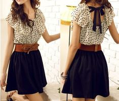 Fashion Short sleeve Dots Polka Mini Summer Chiffon