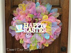 Happy Easter Deco Mesh Wreath by DeanasDecoDesigns on Etsy, $70.00