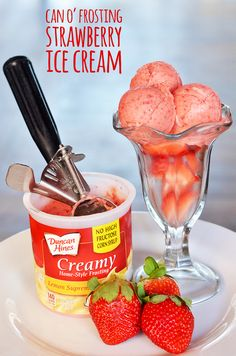 Make ice cream without a machine. HOW-TO: Take half a can of lemon frosting and place it in a blender with 2 1/2 cups sliced strawberries. Puree until smooth. Return to the can and freeze overnight. You don't need an ice cream machine when you have the magical powers (aka additives) of frosting. - Frosting hack