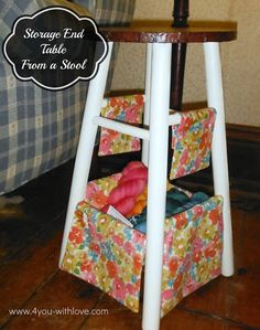 We love how @Marilyn Clark (4 You With Love) used @Waverly fabric and an old stool to #waverize it into a storage end table!