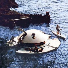 """Aquatic Pod Suite- location: anywhere! via This Old House: """"Hammacher Schlemmer made good on its promise to offer """"the best, the only and the unexpected"""" with this $91,100 floating suite... featured a minibar, King-size bed, bathroom, and a 6½-foot-wide sunbathing terrace that doubled as a bumper to protect your investment from reckless jet-skiers. The price covered delivery to any U.S location, """"white-glove"""" assembly, an official water launch, and new-owner training by a four-man crew."""""""