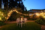 Eclectic secret backyard oasis.