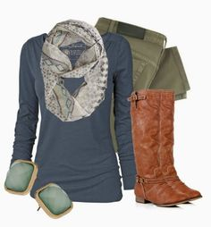 Simple Outfits   Aquamarine Fat Face shirt, Victoria Beckham jeans, Riding Boots, American Eagle Outfitters scarf by qtpiekelso autumn outfits, aquamarin, american eagle outfitters, american outfits, american eagle jeans outfit, fall outfit, casual outfits, brown boots, american eagle outfits