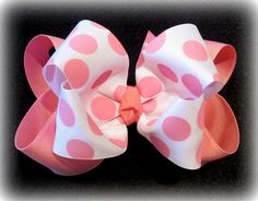 Pink Dot Double Layered Boutique Lush Hair by MyBellaBellaBowtique, $5.99