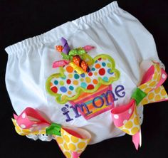 Personalized Diaper Cover Monogrammed Bloomers Baby Girls Toddler Monogrammed Applique Embroidery Personalized Custom Design Cupcake i'm One on Etsy, $24.00