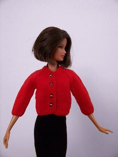 Red sweater for Barbie by angharadgruffyd on Etsy
