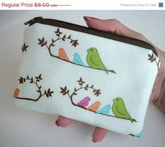 FALL SALE 30% OFF Bird Line Up Zipper Pouch Little ECO Friendly Padded Coin Purse by JPATPURSES