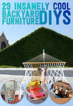 backyard furniture, cool backyard diy, garden furniture, diy for gardening, backyard oasis, hammock, garden stuff, yard ideas