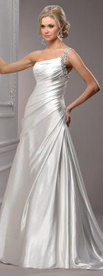wedding dressses, idea, satin, weddings, dress wedding, gowns, dresses, maggi sottero, one shoulder