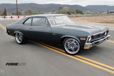 """LSXTV.com's """"Project Swinger"""" supercharged '71 Chevy Nova on 18-inch Forgeline SP3P wheels finished with Gunmetal centers, Diamond Cut edges, and Brushed outers. See more at: http://www.forgeline.com/customer_gallery_view.php?cvk=1031  #Forgeline #SP3P #notjustanotherprettywheel #madeinUSA #Chevy #Nova"""