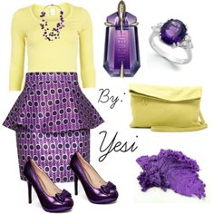 Purple outfit option 87.  #purple #outfits #purpleoutfits #summeroutfits #casual #fashion #skirts #handbags #accessories #shoes #yellow #mystyle