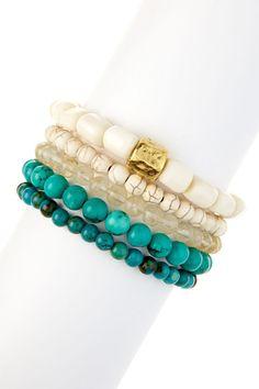 Multi-Stone Beaded Stretch Bracelet Set