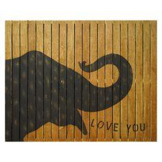 Love you! wall art, eleph wall, wall decor, wallart, elephant art, nursery decor, nurseri, old pallets, twin rooms