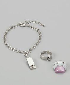 White Cupcake Sweetness Charm Bracelet & Ring Set