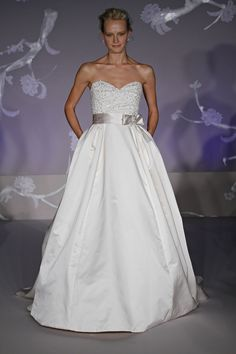 Classic ivory ballgown wedding dress with sweetheart neckline, pockets, and sash// LOVE IT!!//