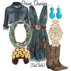 """Dancing"" by michele-cortes on Polyvore Stella McCartney Floral dress v neck with large braided leather belt and round hammered disk shelplers corral women's inlay boots, torsade necklace with white, turquoise and brass colored findings, indigo denim crop jean jacket gold Michael Kors watch and big fat leather cuff bracelet with gold buttons"