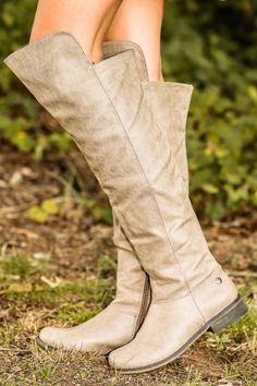 Over-The-Knee taupe boots! A closet staple piece! The perfect piece to complete all of your winter outfits! Shoe lover! Obsessed!