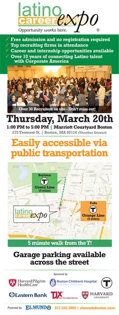 Latino Career Expo | Thursday, March 20 @ 1pm-5pm, Boston, MA
