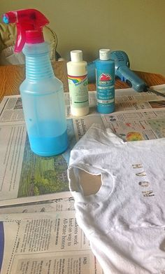 Spray paint t-shirts - one part textile medium to one part acrylic paint in a squirt bottle from the Dollar Tree, then add about 4 parts water to that so it will spray well.