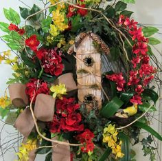 XXL Gorgeous Birdhouse Wreath With Red Hydrangeas, & Red Orchids by http://www.LadybugWreaths.com, $249.97